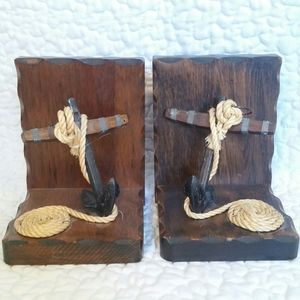Vintage Pair Nautical Anchor Rope Bookends Wood
